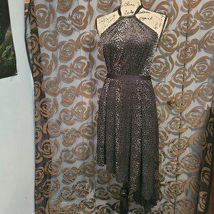 RACHEL black and silver halter dress